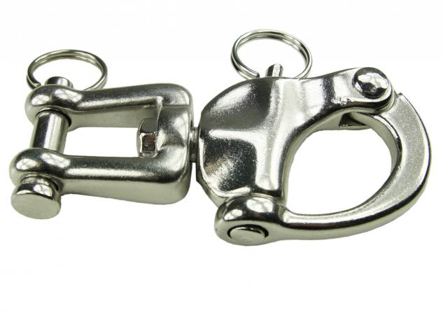 Schäkel Edelstahl Schnappschäkel mit Wirbel,12,3 cm Auge Drehwirbel V4A