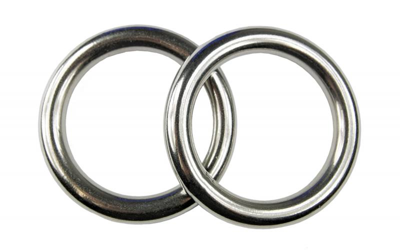 Edelstahlringe  2x Edelstahl Ringe, D-Ring Öse, 10x60 mm, rostfrei V4A